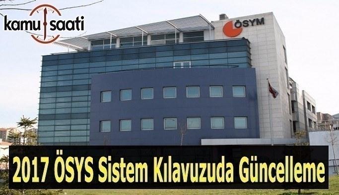 2017 ÖSYS Sistem Kılavuzunda güncelleme