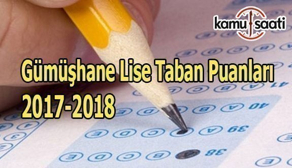 TEOG Gümüşhane Lise Taban Puanları 2017-2018