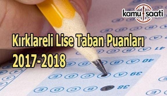 Kırklareli Lise Taban Puanları 2017-2018