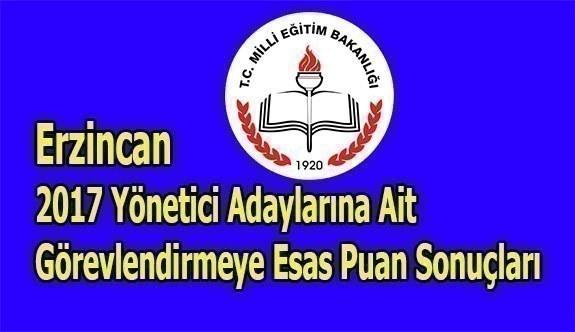 Erzincan 2017 Yönetici Adaylarına Ait Görevlendirmeye Esas Puan Sonuçları