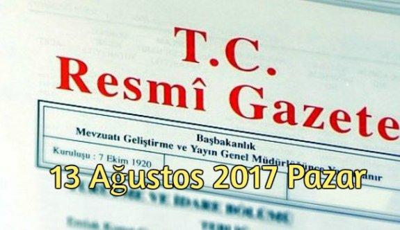 TC Resmi Gazete - 13 Ağustos 2017 Pazar