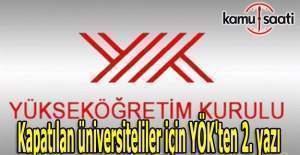 Kapatılan üniversite öğrencileri için YÖK'ten 2. yazı