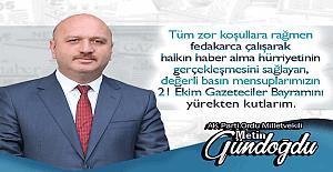 """AK Parti Ordu Milletvekili Metin Gündoğdu: """"21 Ekim Gazeteciler Günü Kutlu Olsun"""""""