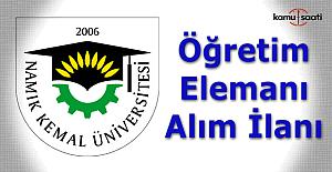 Namık Kemal Üniversitesi Öğretim Üyesi Alım ilanı