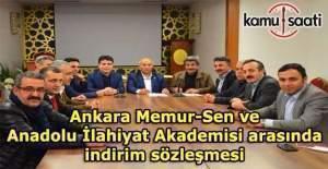 Ankara Memur-Sen ve Anadolu İlahiyat Akademisi arasında indirim sözleşmesi