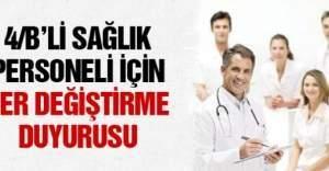 Sağlık çalışanlarına yer değiştirme duyurusu
