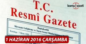 1 Haziran 2016 Resmi Gazete