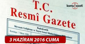 3 Haziran 2016 Resmi Gazete