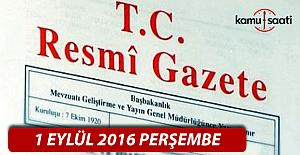 1 Eylül 2016 Resmi Gazete