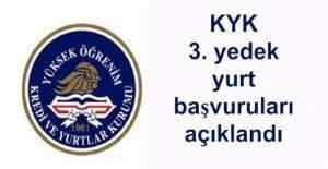 KYK 3. yedek yurt başvuruları açıklandı! KYK yurt başvuruları tıkla sorgula