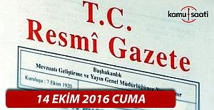 14 Ekim 2016 Resmi Gazete