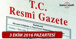 3 Ekim 2016 Resmi Gazete
