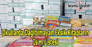 Okullarda dağıtılmayan eksik kitapların isim listesi