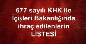 677 sayılı KHK ile İçişleri Bakanlığından ihraç edilenlerin isim listesi (Tam Liste)