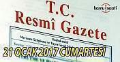 21 Ocak 2017 tarihli 29955 sayılı Resmi Gazete