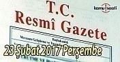 23 Şubat 2017 tarihli ve 29988 sayılı Resmi Gazete