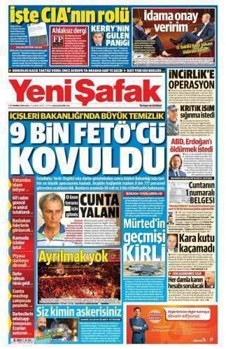 19 Temmuz 2016 Salı Gazete Manşetleri