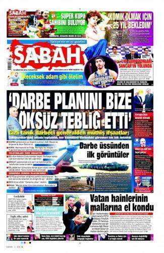 13 Ağustos 2016 Cumartesi Gazete Manşetleri