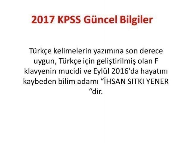 2017 KPSS Güncel Bilgiler Genel Kültür