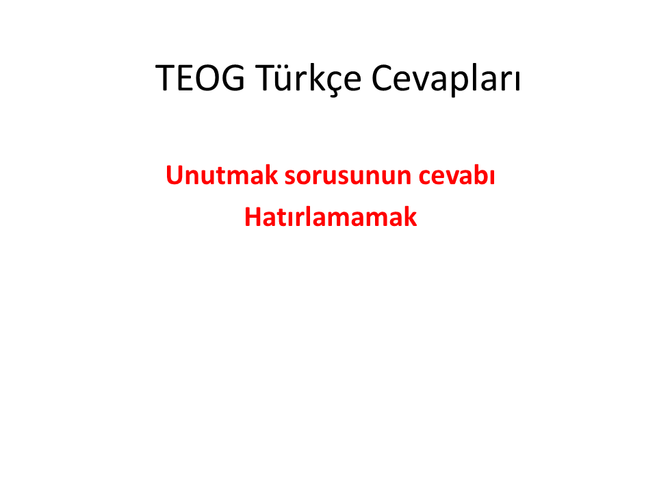 TEOG 1. Dönem Türkçe Cevapları