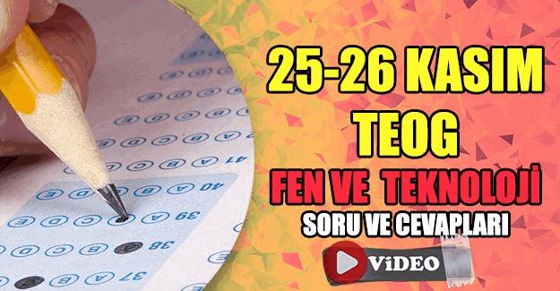 25-26 Kasım TEOG  Fen ve Teknoloji videolu soru çözümleri
