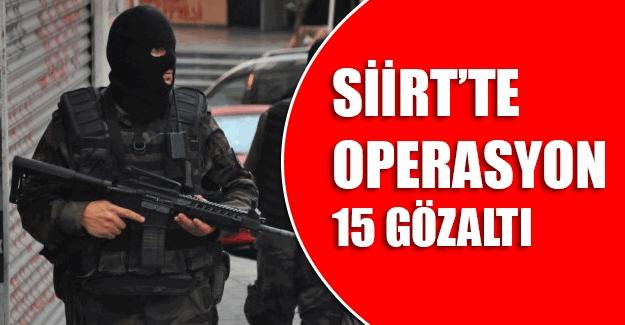 Siirt'te operasyon, 15 gözaltı