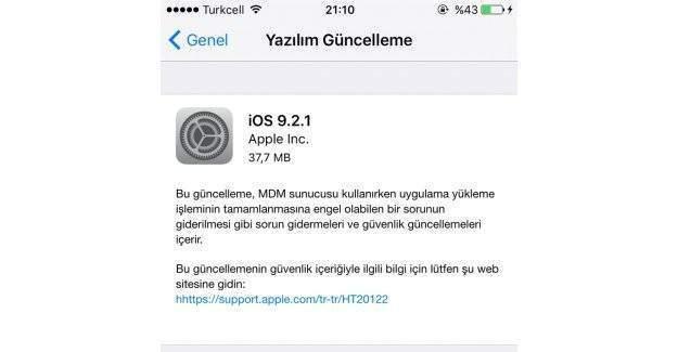 iOS 9.2.1 yayınlandı!