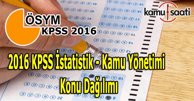 2016 KPSS İstatistik, Kamu Yönetimi konu dağılımı