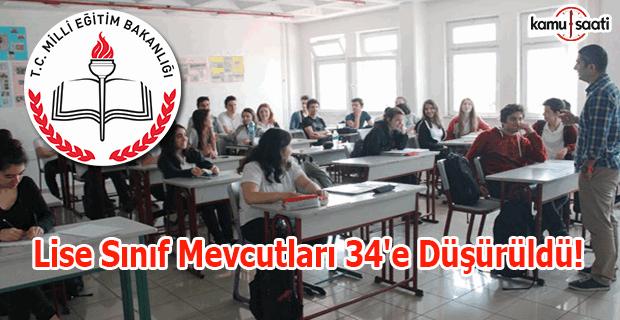 Lise sınıf mevcutları 34'e düşürüldü!