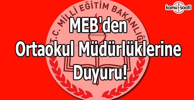 MEB'den ortaokul müdürlüklerine duyuru!