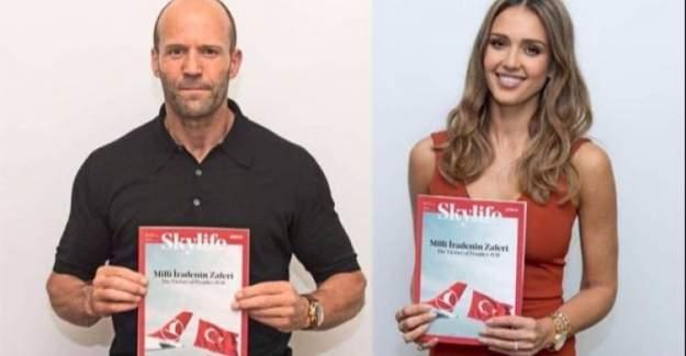 Jason Statham ve Jessica Alba'dan 'Milli İrade'ye destek