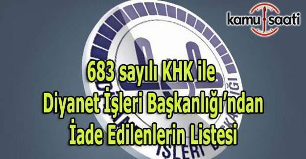 683 sayılı KHK ile Diyanet İşleri Başkanlığı göreve iade edilenlerin listesi