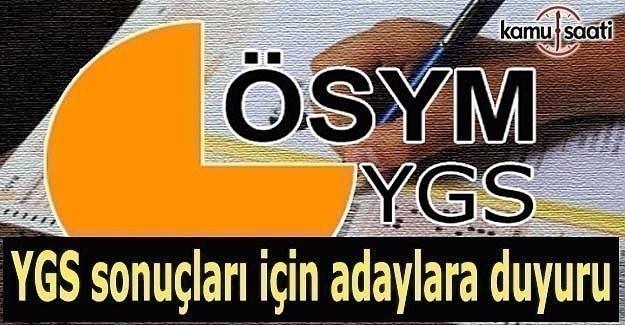 YGS sonuçları için adaylara duyuru