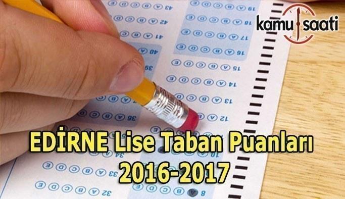 Edirne Lise Taban Puanları 2016-2017