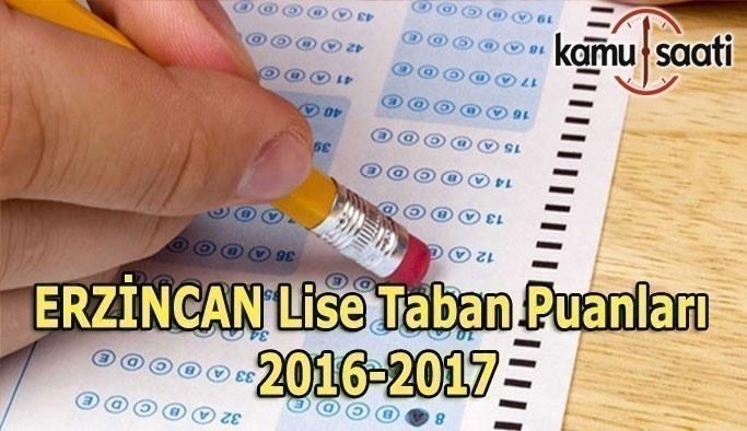 Erzincan Lise Taban Puanları 2016-2017