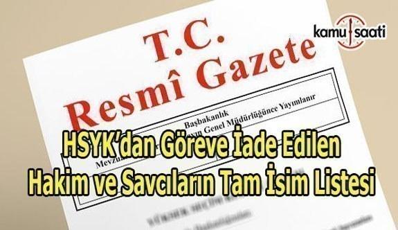HSYK, 83 Hakim ve Savcıyı göreve iade etti - Göreve iade edilen hakim ve savcıların isim listesi