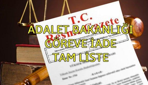 694 sayılı KHK ile Adalet Bakanlığı görevine iade edilen personelin isim listesi (TAM LİSTE)