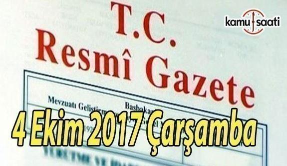 TC Resmi Gazete - 4 Ekim 2017 Çarşamba