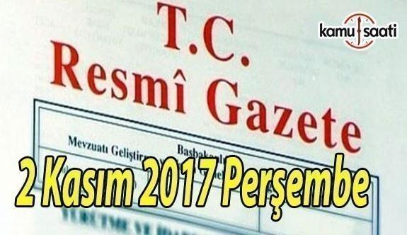 TC Resmi Gazete - 2 Kasım 2017 Perşembe