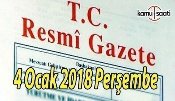 TC Resmi Gazete - 4 Ocak 2018 Perşembe