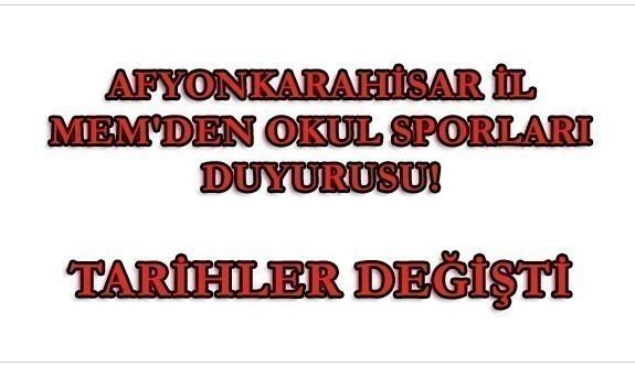 Afyonkarahisar İl MEM'den Okul Sporları Duyurusu! Öne alındı