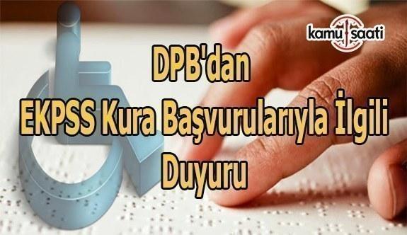 DPB'dan EKPSS kura başvurularıyla ilgili duyuru
