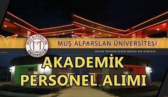 Muş Alparslan Üniversitesi akademik personel alım ilanı