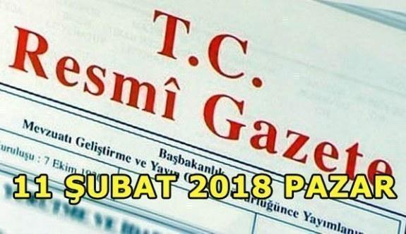 TC Resmi Gazete - 11 Şubat 2018 Pazar