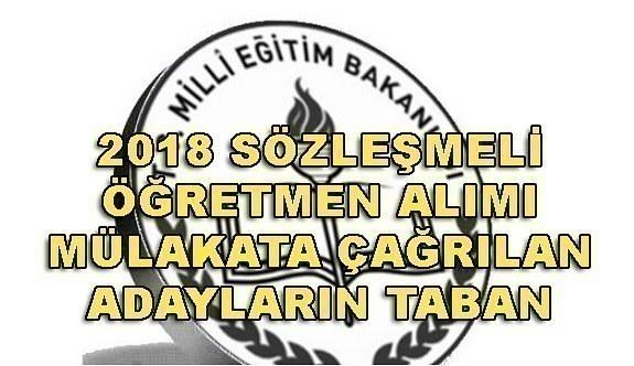 2018 Sözleşmeli Öğretmen alımı mülakata çağrılan adayların taban puanları