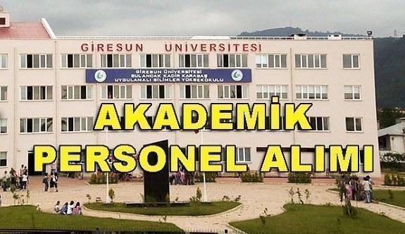 Giresun Üniversitesi Akademik Personel Alacak