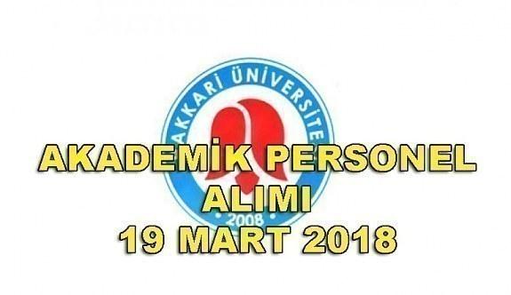 Hakkari Üniversitesi akademik personel alacak - 19 Mart 2018