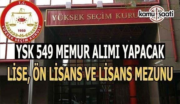 YSK 549 memur alacak