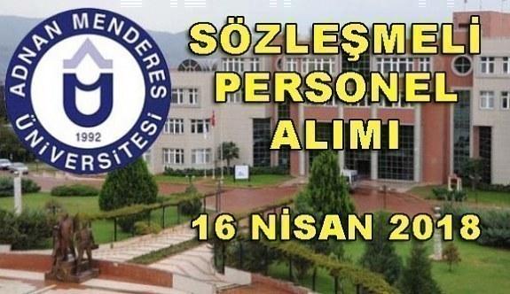 Adnan Menderes Üniversitesi 70 Sözleşmeli Personel Alımı - 16 Nisan 2018