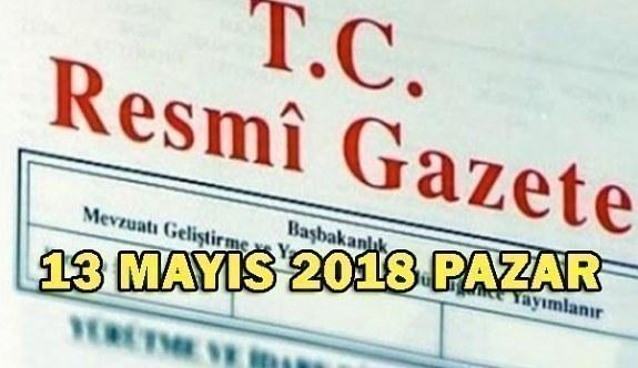 13 Mayıs 2018 Pazar Tarihli ve 30420 Sayılı TC Resmi Gazete Kararları